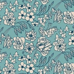 1920s Style Floral in Teal, Indigo