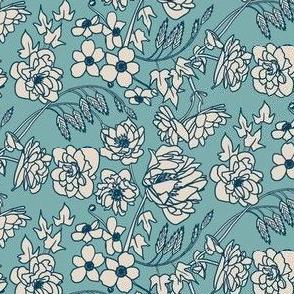 Floral Line Art in Teal, Indigo