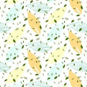 Citrus Leaves in Orange, Green, White
