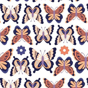 Happy Spring Butterflies - Orange Purple