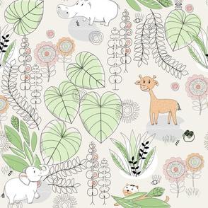 Safari BABY ANIMAL WallPAPER LINE ARTWORK GREEN AND PEACH-01