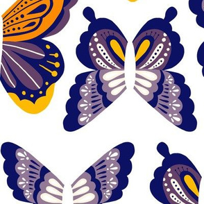 Happy Spring Butterflies - Purple Orange