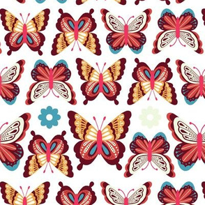 Happy Spring Butterflies - Red Teal