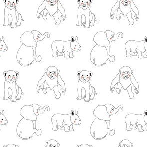 Animals Line Pattern