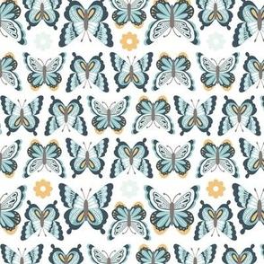 Happy Spring Butterflies - Teal