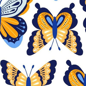 Happy Spring Butterflies - Yellow Blue