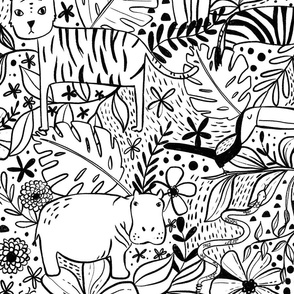 Jungle Hide and Seek - black and white jungle animal line drawings