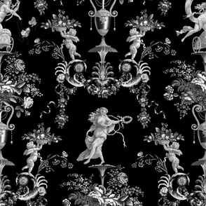 The Muses Arabesque ~ Black and White on Black