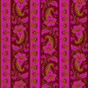 Esmeralda Paisley Stripe ~ Fuchsia  on Sanguinene