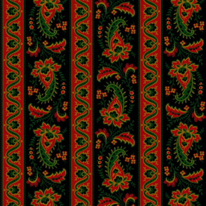 Esmeralda Paisley Stripe ~ Original on Black