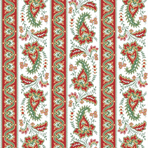 Esmeralda Paisley Stripe ~ Original on White