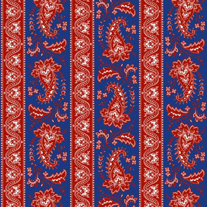 Esmeralda Paisley Stripe ~ Turkey Red and White on Willow Ware Blue