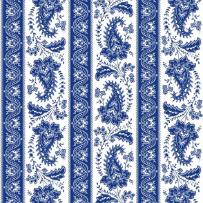 Esmeralda Paisley Stripe ~ Willow Ware Blue and White