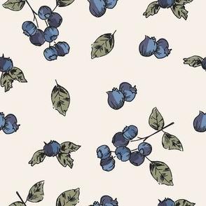 BLUEBERRIES ON BRIDAL WHITE