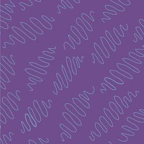 Aqua blue squiggly lines on purple