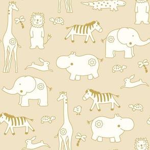 Line Art Retro Baby Zoo Safari