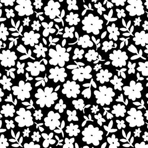 Black and White Bitsy Floral by Angel Gerardo