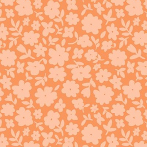 Coral and Apricot Bitsy Floral by Angel Gerardo