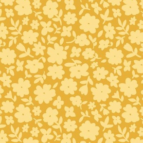 Mustard Gold Bitsy Floral by Angel Gerardo