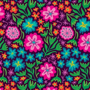 70s Mexican-Inspired Floral Botanical from UnBlink Studio by Jackie Tahara-SMALL Scale