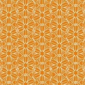 Mandala Flowers in Orange, White