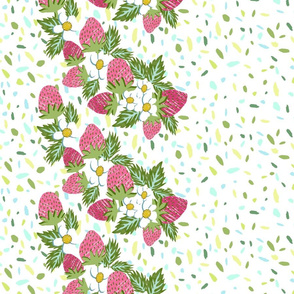 Strawberry Border of Paper Cut Outs on Terrazzo