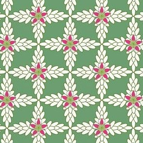 Floral Lattice in Pink, Green, White