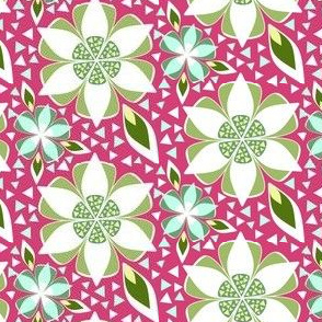 Mosaic Floral in Pink, Green