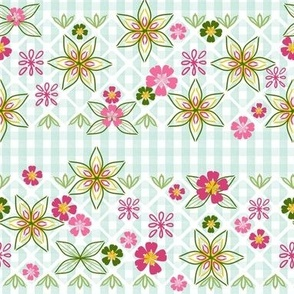 Gingham Embroidery and Applique, Pink, Green, Teal