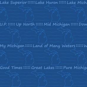 My Michigan: Classic Blue Michigan Silouhuette Stripe