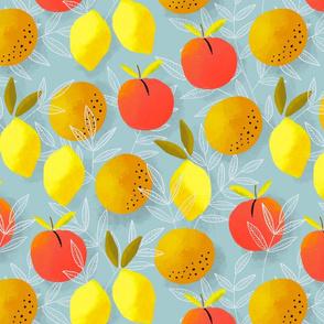 Orange, peach, lemon