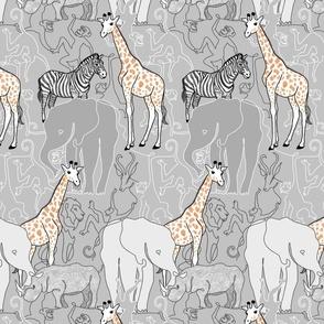 little safari line drawing