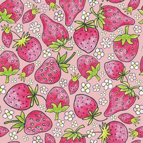 summer strawberries on pink