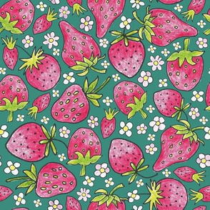 summer strawberries on dark green