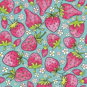 summer strawberries on blue