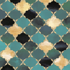 Floral Watercolor Moroccan Tile teal