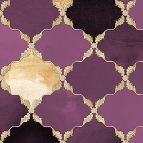 Floral Watercolor Moroccan Tile dark purple