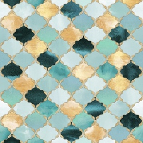 Floral Watercolor Moroccan Tile light teal