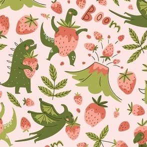 Dinosaurs and strawberry