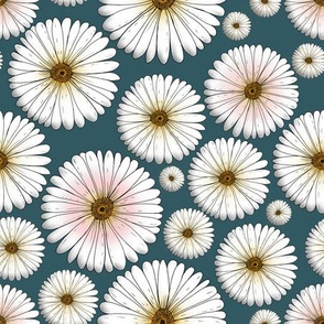 Daisys on petrol-blue color by Marla von den Sternen