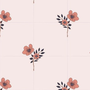 flowers in squares light pink