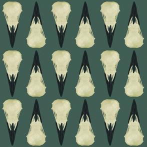 Raven Skulls on mineral green