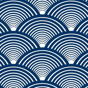 Fan Pattern Navy Blue Medium