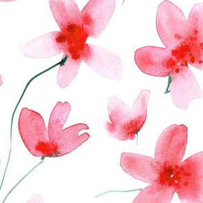 Coral dainty cherry blossom, watercolor painted florals for modern home decor, bedding, nursery