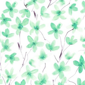 Emerald dainty cherry blossom ★ watercolor flowers for modern home decor, bedding, nursery