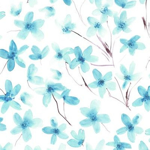 Aqua blue dainty cherry blossom - watercolor flowers for modern home decor, bedding, nursery