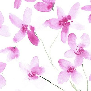 dainty cherry blossom - large scale pink flowers for modern home decor, bedding, nursery