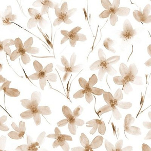 Earthy boho dainty cherry blossom ★ neutral watercolor florals for modern home decor, bedding, nursery