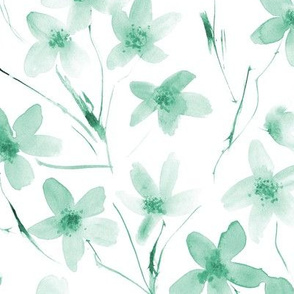 Emerald dainty cherry blossom ★ watercolor tonal flowers for modern scandi home decor, bedding, nursery
