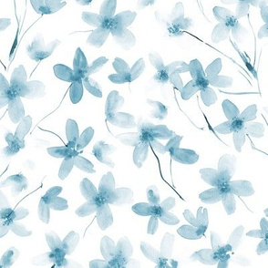 Denim blue dainty cherry blossom for modern home decor, bedding, nursery
